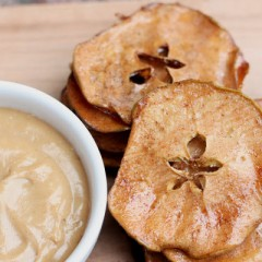 Caramel Apple Nachos with Nutty Dipping Sauce