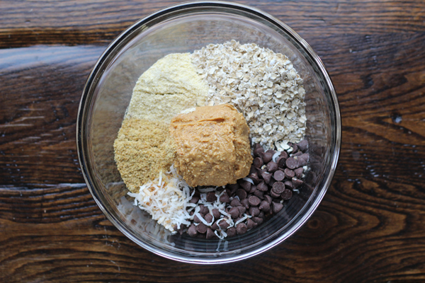 Coconut Peanut Butter Power Balls ingredients in bowl