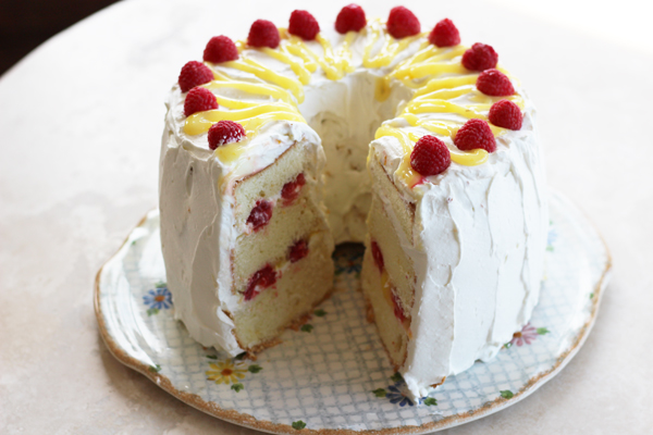 Lemon Chiffon Cake w Raspberries recipe 4a