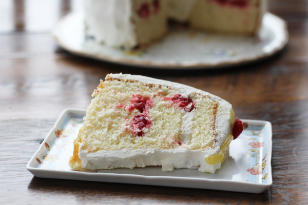 Lemon Raspberry Chiffon Cake slice