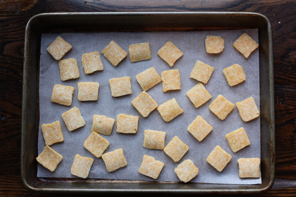 Spicy Homemade Cheeze-Its baked