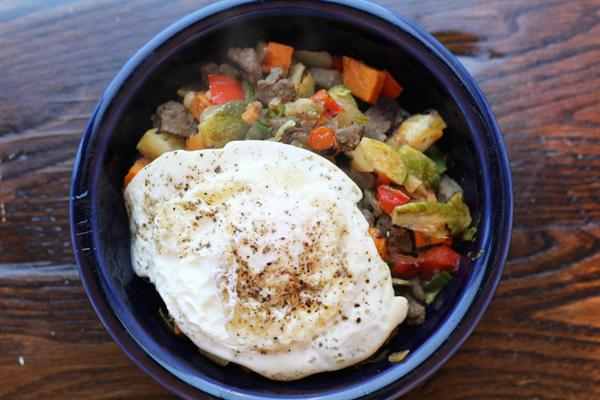 Turkey Sausage Sweet Potato Hash Bowl
