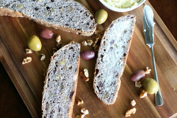 Blue Ribbon Fresh Herb Olive Nut Bread, Sliced w Butter