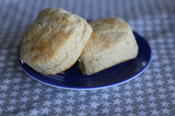 Two blue ribbon biscuits