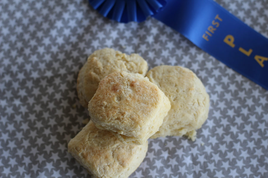 Blue Ribbon Biscuits with blue ribbon
